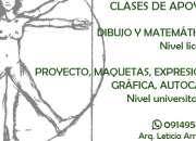 Clases de apoyo: Dibujo y Matemática liceal, Facultad de arquitectura.
