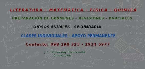 Exámenes - matemática - literatura - física - química - ciudad vieja
