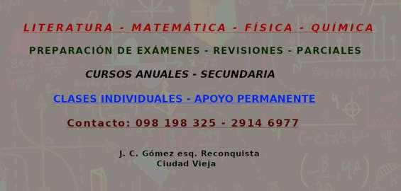 Matemática - literatura - física - química - preparación de exámenes